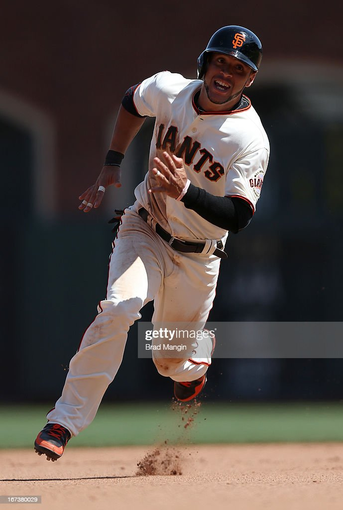Gregor Blanco #7 of the San Francisco Giants runs the bases against the Arizona Diamondbacks during the game at AT&T Park on Wednesday, April 24, 2013 in San Francisco, California.