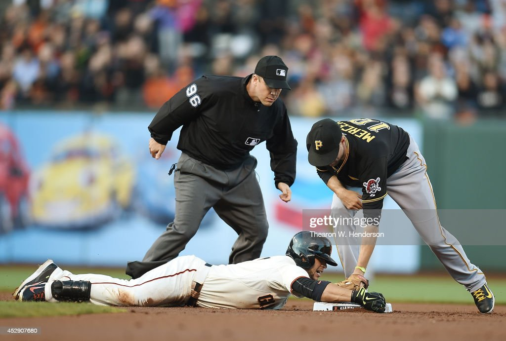 <a gi-track='captionPersonalityLinkClicked' href=/galleries/search?phrase=Gregor+Blanco&family=editorial&specificpeople=4137600 ng-click='$event.stopPropagation()'>Gregor Blanco</a> #7 of the San Francisco Giants slides into second base with a double, beating the tag of <a gi-track='captionPersonalityLinkClicked' href=/galleries/search?phrase=Jordy+Mercer&family=editorial&specificpeople=4412527 ng-click='$event.stopPropagation()'>Jordy Mercer</a> #10 of the Pittsburgh Pirates in the bottom of the first inning at AT&T Park on July 29, 2014 in San Francisco, California.