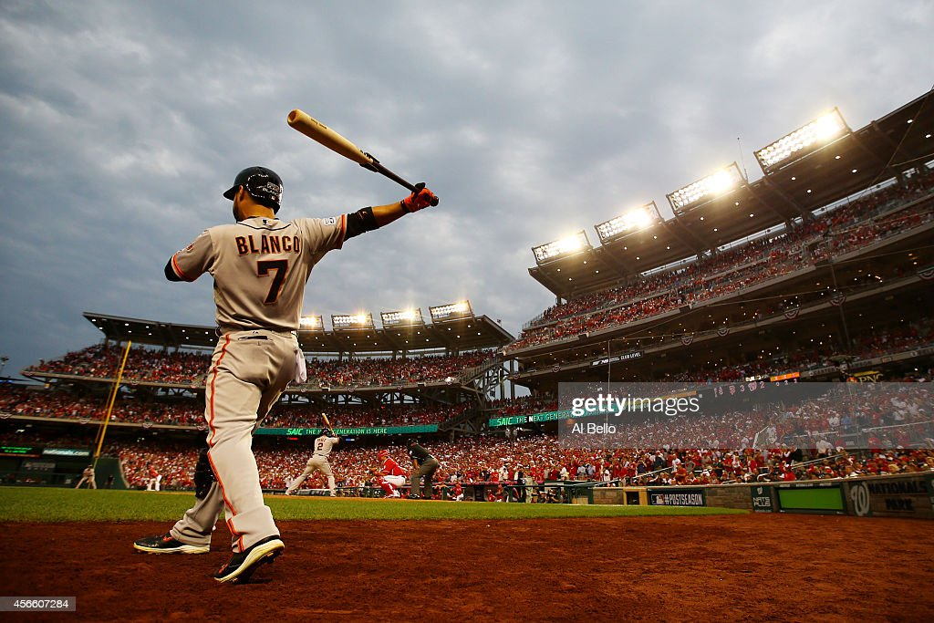 Gregor Blanco #7 of the San Francisco Giants stands on deck during Game One of the National League Division Series against the Washington Nationals at Nationals Park on October 3, 2014 in Washington, DC.