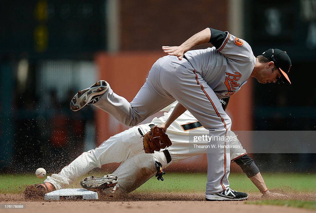 <a gi-track='captionPersonalityLinkClicked' href=/galleries/search?phrase=Gregor+Blanco&family=editorial&specificpeople=4137600 ng-click='$event.stopPropagation()'>Gregor Blanco</a> #7 of the San Francisco Giants steals second base as the throw gets away from <a gi-track='captionPersonalityLinkClicked' href=/galleries/search?phrase=J.J.+Hardy&family=editorial&specificpeople=216446 ng-click='$event.stopPropagation()'>J.J. Hardy</a> #2 of the Baltimore Orioles in the fourth inning at AT&T Park on August 11, 2013 in San Francisco, California.