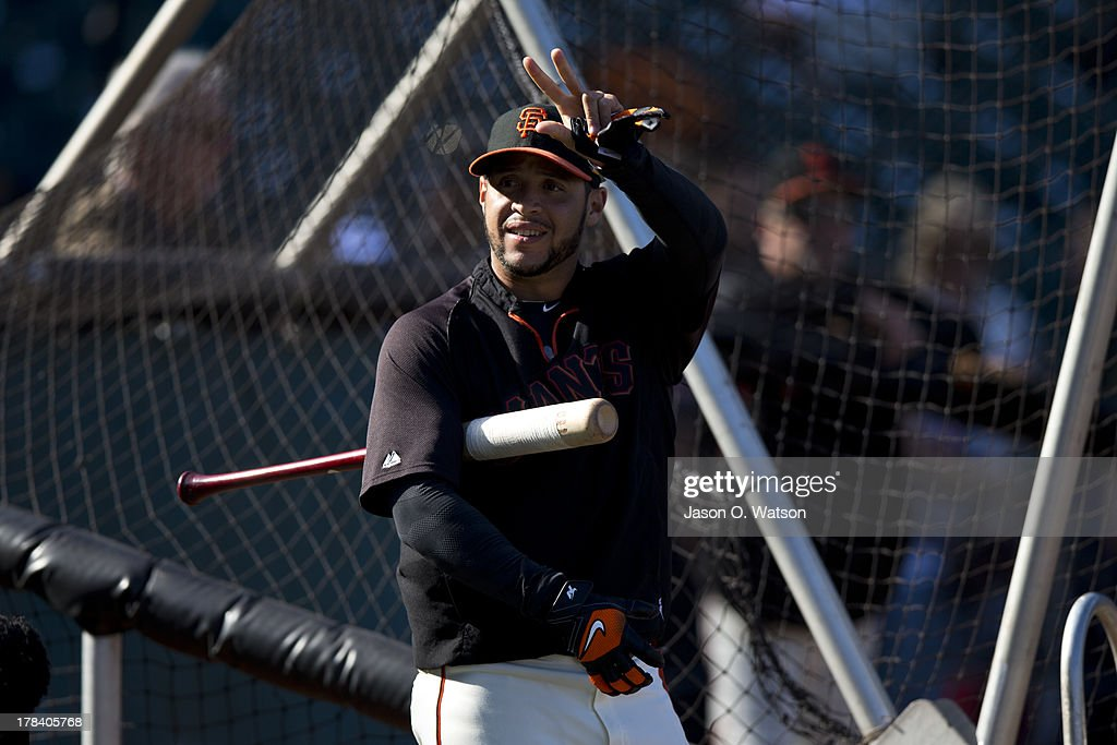 <a gi-track='captionPersonalityLinkClicked' href=/galleries/search?phrase=Gregor+Blanco&family=editorial&specificpeople=4137600 ng-click='$event.stopPropagation()'>Gregor Blanco</a> #7 of the San Francisco Giants warms up before the game against the Pittsburgh Pirates at AT&T Park on August 23, 2013 in San Francisco, California. The Pittsburgh Pirates defeated the San Francisco Giants 3-1.