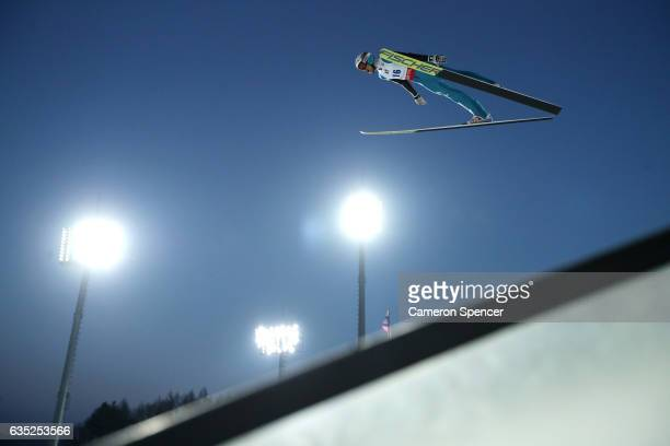 Gregor Deschwanden of Switzerland jumps during trainining for the 2017 FIS Ski Jumping World Cup test event For PyeongChang 2018 at Alpensia Ski...
