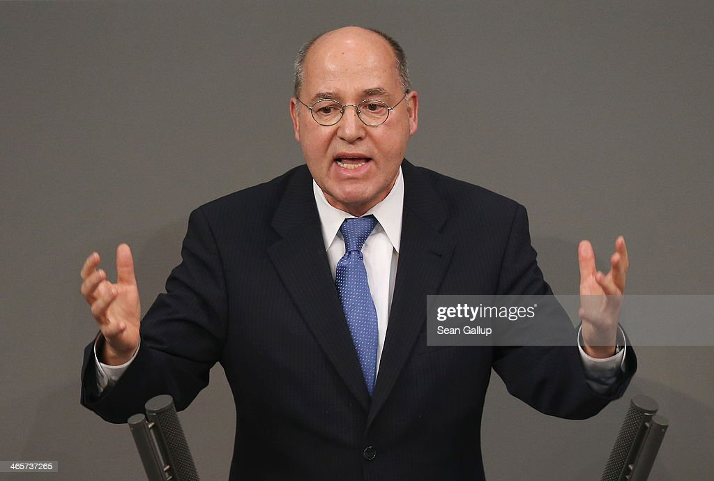 <a gi-track='captionPersonalityLinkClicked' href=/galleries/search?phrase=Gregor+Gysi&family=editorial&specificpeople=240410 ng-click='$event.stopPropagation()'>Gregor Gysi</a>, co-leader of the Bundestag faction of Die Linke left-wing party, speaks at the Bundestag during debates following a government declaration given by German Chancellor Angela Merkel, in which she outlined the policy priorities of the new German coalition government of Christian Democrats and Social Democrats, on January 29, 2104 in Berlin, Germany. The new government was sworn in in December and has a strong majority in the Bundestag to push through legislation.