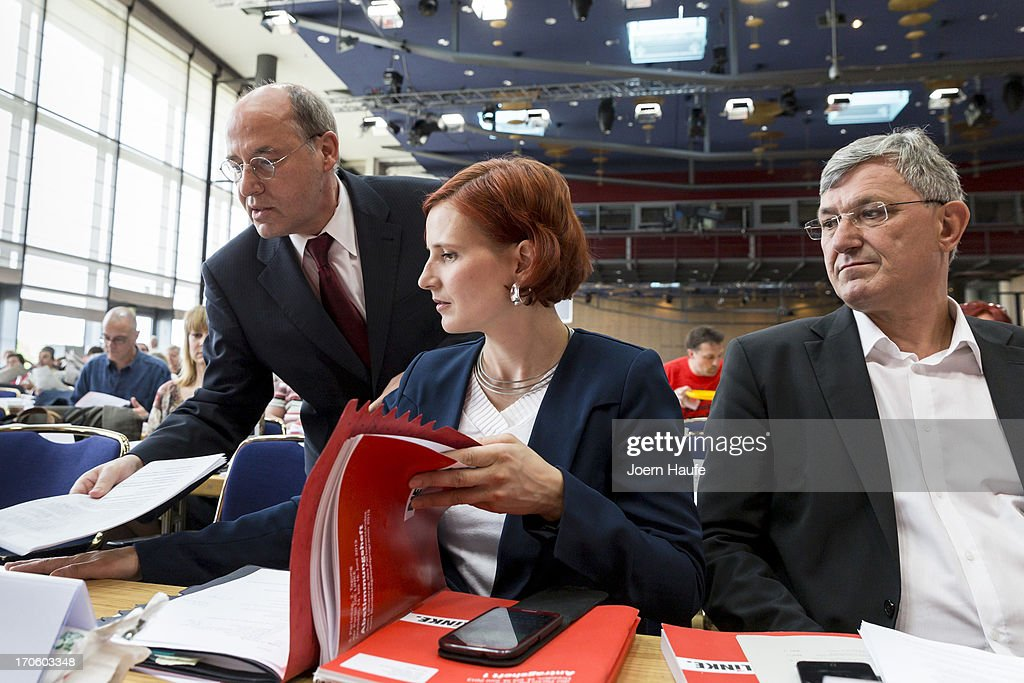 Gregor Gysi, leader of the Die Linke Bundestag faction, Katja Kipping, co-Chairwoman of the left-wing Die Linke political party, and Bernd Riexinger, Leader of the left-wing Die Linke political party, attend the party's federal convention on June 15, 2013 in Dresden, Germany. Die Linke, Germany's main left-wing political party, are meeting to decide on their policy program for German federal elections scheduled for September.