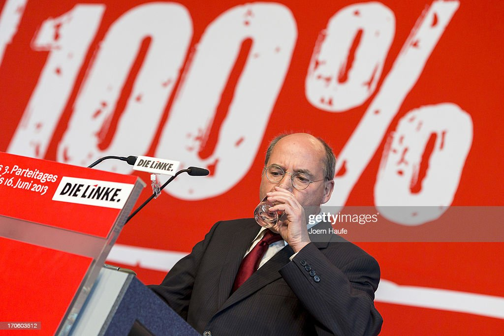 <a gi-track='captionPersonalityLinkClicked' href=/galleries/search?phrase=Gregor+Gysi&family=editorial&specificpeople=240410 ng-click='$event.stopPropagation()'>Gregor Gysi</a>, leader of the Die Linke Bundestag fraction, speaks at the party's federal convention on June 15, 2013 in Dresden, Germany. Die Linke, Germany's main left-wing political party, are meeting to decide on their policy program for German federal elections scheduled for September.