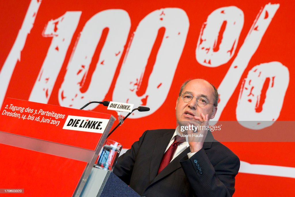 <a gi-track='captionPersonalityLinkClicked' href=/galleries/search?phrase=Gregor+Gysi&family=editorial&specificpeople=240410 ng-click='$event.stopPropagation()'>Gregor Gysi</a>, leader of the Die Linke Bundestag fraction, speaks during the party's federal convention on June 15, 2013 in Dresden, Germany. Die Linke, Germany's main left-wing political party, are meeting to decide on their policy program for German federal elections scheduled for September.