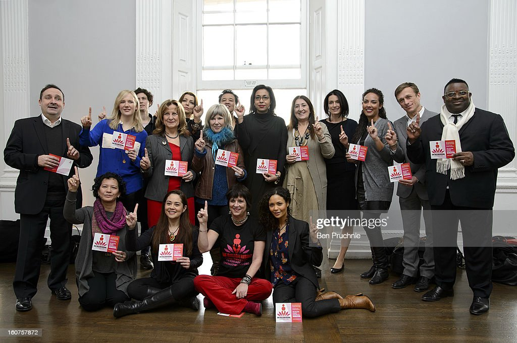 Gregor Muir, MP Stella Presley, Guest, Elif Shafak, Baroness Kennedy, Jude Kelly, Guest, Guest, Lynne Franks, Sonja Junkers, Alia Al Senussi, Guest, Isaac Julien (L-R Front) Guest, Guest, Eve Ensler and Thandie Newton attend a photocall to promote One Billion Rising, a global movement aiming to end violence towards women, at ICA on February 5, 2013 in London, England.