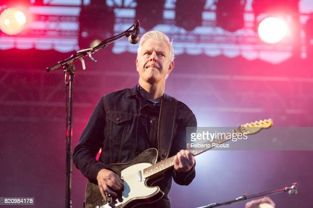 Gregor Philp of Scottish pop rock band Deacon Blue performs on stage at Edinburgh Castle on July 22 2017 in Edinburgh Scotland