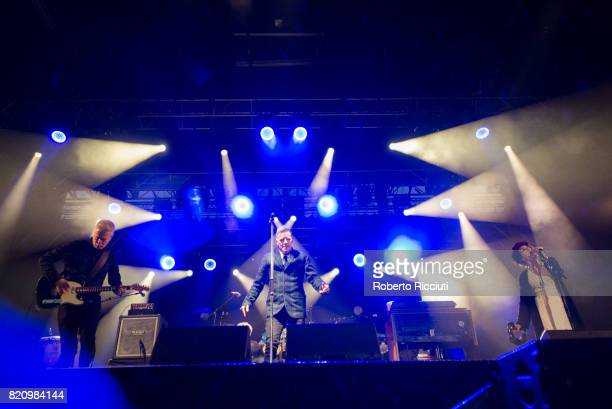 Gregor Philp Ricky Ross and Lorraine McIntosh of Scottish pop rock band Deacon Blue performs on stage at Edinburgh Castle on July 22 2017 in...