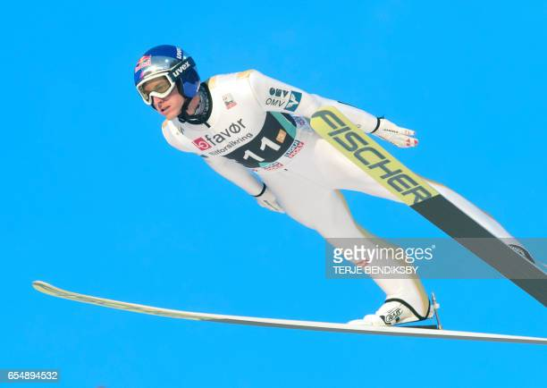 Gregor Schlierenzauer from Austria soars during the FIS Ski Jumping World Cup Men´s Team HS225 in Vikersund on March 18 2017 / AFP PHOTO / NTB...