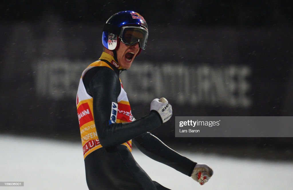 Gregor Schlierenzauer of Austria celebrates after the final round of the FIS Ski Jumping World Cup event of the 61st Four Hills ski jumping...