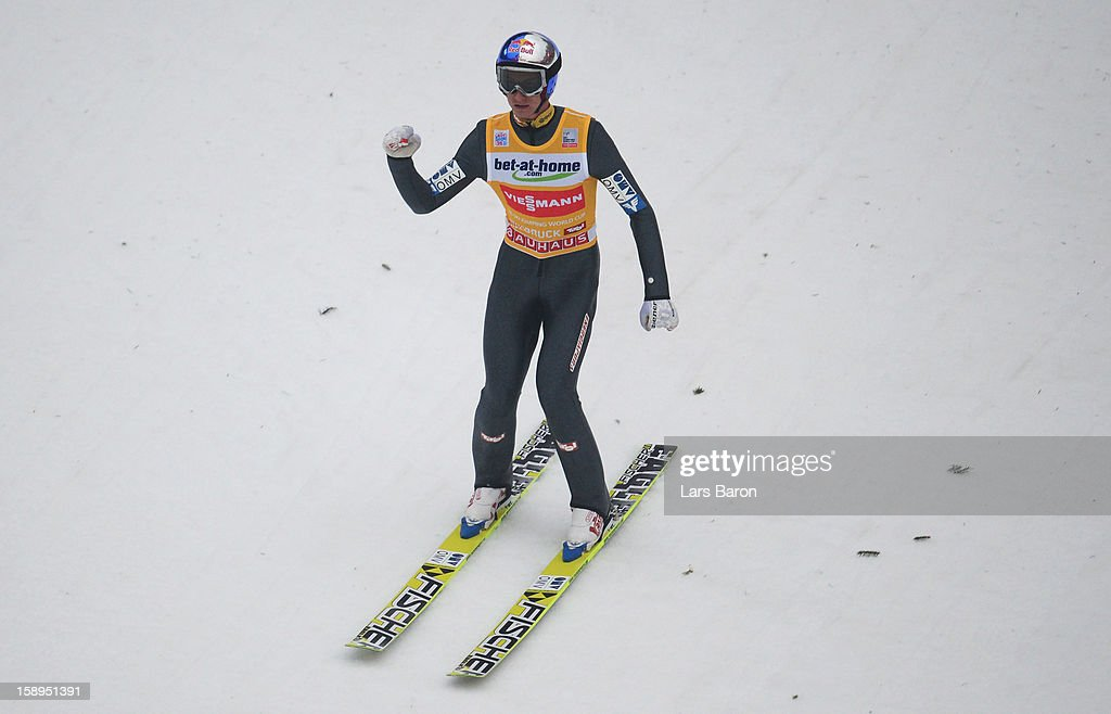 Gregor Schlierenzauer of Austria celebrates after winning the final round for the FIS Ski Jumping World Cup event of the 61st Four Hills ski jumping tournament at Bergisel-Stadion on January 4, 2013 in Innsbruck, Austria.