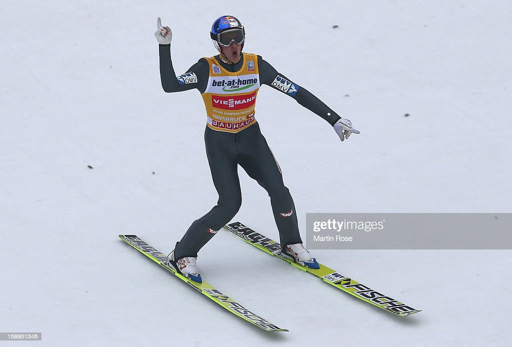 <a gi-track='captionPersonalityLinkClicked' href=/galleries/search?phrase=Gregor+Schlierenzauer&family=editorial&specificpeople=2963942 ng-click='$event.stopPropagation()'>Gregor Schlierenzauer</a> of Austria celebrates after winning the FIS Ski Jumping World Cup event of the 61st Four Hills ski jumping tournament at Bergisel-Stadion on January 4, 2013 in Innsbruck, Austria.