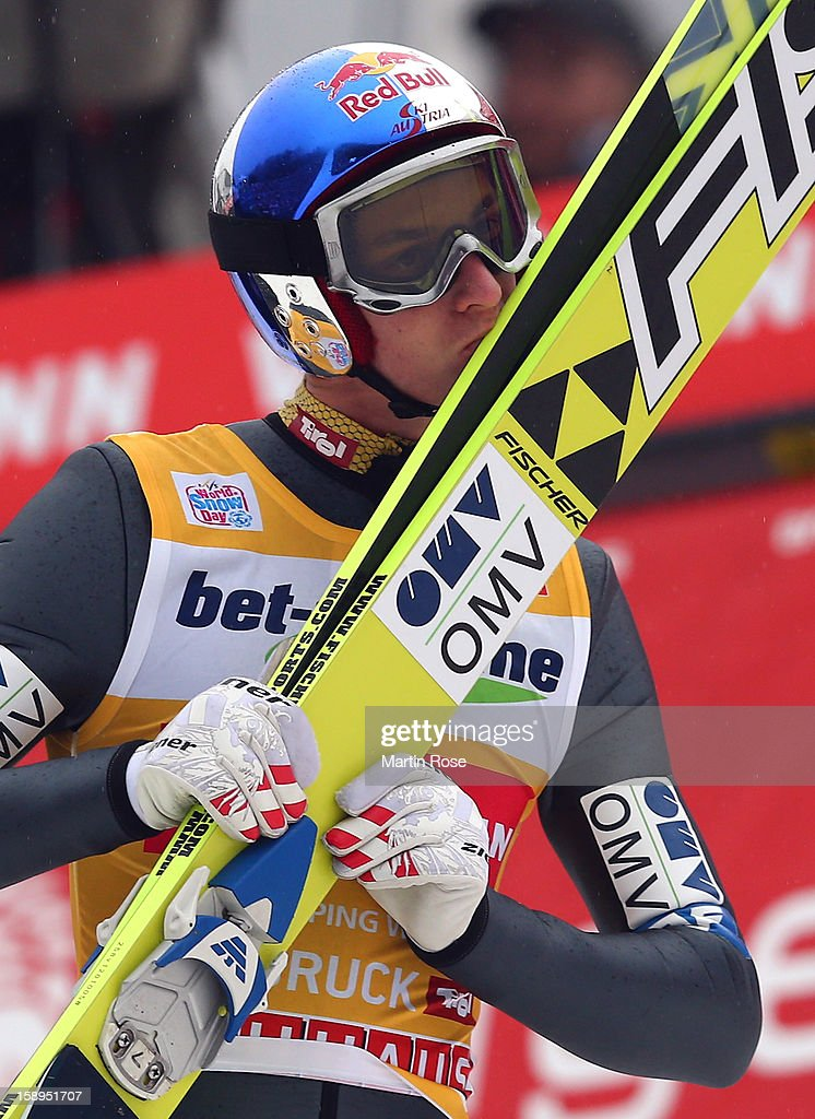 Gregor Schlierenzauer of Austria celebrates after winning the FIS Ski Jumping World Cup event of the 61st Four Hills ski jumping tournament at Bergisel-Stadion on January 4, 2013 in Innsbruck, Austria.