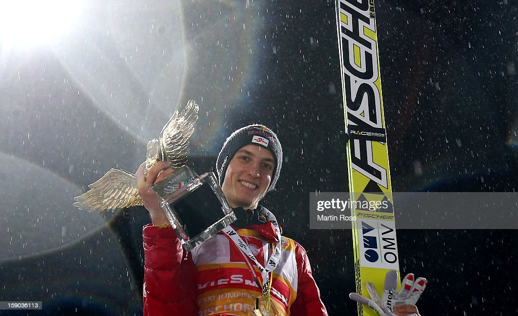 Gregor Schlierenzauer of Austria celebrates after winning the FIS Ski Jumping World Cup event at the 61st Four Hills ski jumping tournament at...