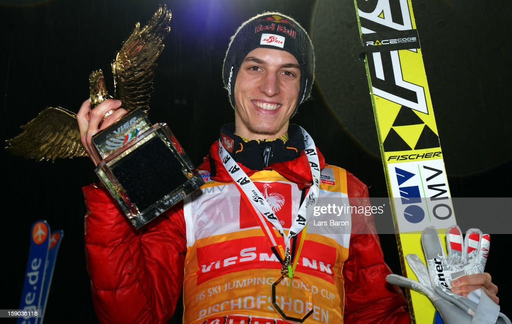 Gregor Schlierenzauer of Austria celebrates after winning the FIS Ski Jumping World Cup event of the 61st Four Hills ski jumping tournament at Paul-Ausserleitner-Schanze on January 6, 2013 in Bischofshofen, Austria.