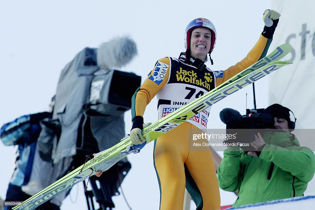Gregor Schlierenzauer of Austria celebrates winning after his final jump of the FIS Ski Jumping World Cup event of the 58th Four Hills ski jumping tournament on January 3, 2010 in Innsbruck, Austria.