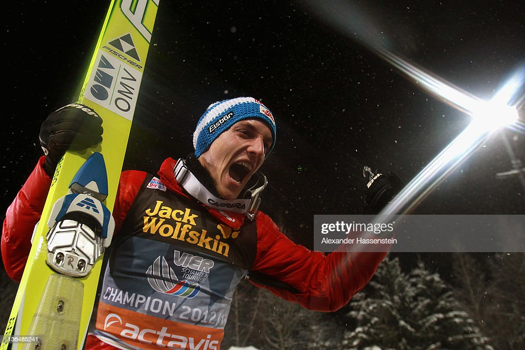 Gregor Schlierenzauer of Austria celebrates winning the 60th Four Hills ski jumping tournament after the final round of the FIS Ski Jumping World Cup...