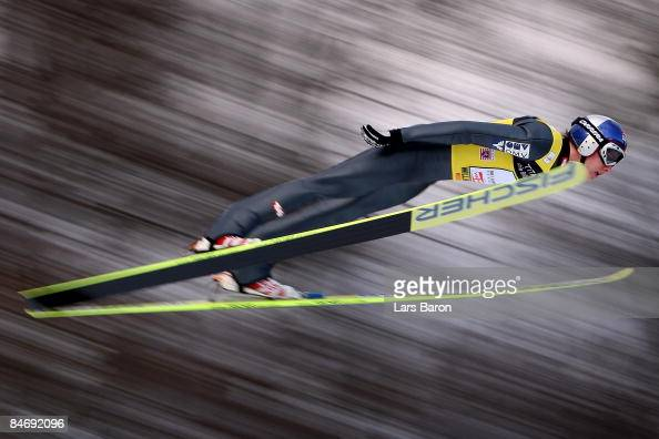 Gregor Schlierenzauer of Austria competes during day three of the FIS Ski Jumping World Cup at the Muehlenkopfschanze on February 8 2009 in Willingen...