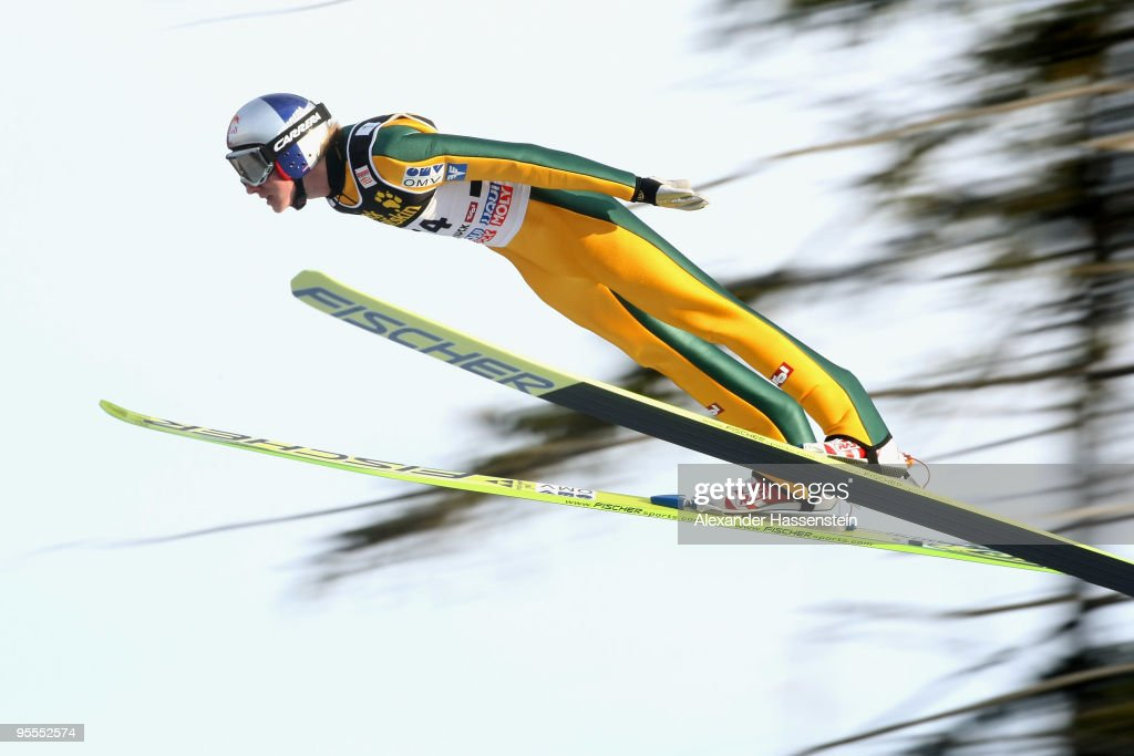 Gregor Schlierenzauer of Austria competes during first round of the FIS Ski Jumping World Cup event of the 58th Four Hills ski jumping tournament on January 3, 2010 in Innsbruck, Austria.