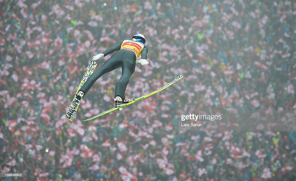 Gregor Schlierenzauer of Austria competes during the first round for the FIS Ski Jumping World Cup event of the 61st Four Hills ski jumping tournament at Bergisel-Stadion on January 4, 2013 in Innsbruck, Austria.