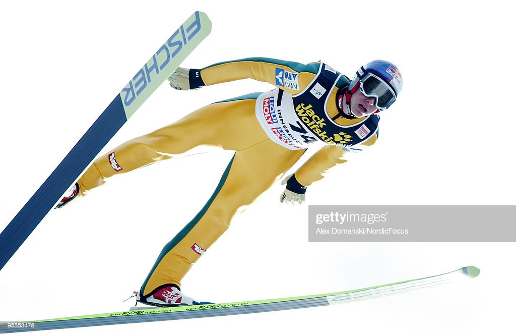 Gregor Schlierenzauer of Austria competes during the FIS Ski Jumping World Cup event of the 58th Four Hills ski jumping tournament on January 3, 2010 in Innsbruck, Austria.