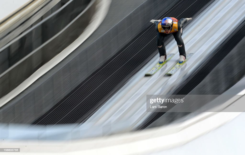 Gregor Schlierenzauer of Austria competes during the qualification round for the FIS Ski Jumping World Cup event at the 61st Four Hills ski jumping tournament at Olympiaschanze on December 31, 2012 in Garmisch-Partenkirchen, Germany.