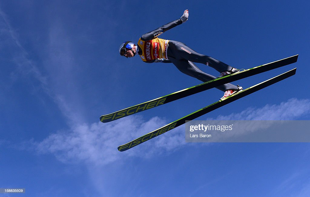 Gregor Schlierenzauer of Austria competes during the trial round for the FIS Ski Jumping World Cup event at the 61st Four Hills ski jumping tournament at Olympiaschanze on December 31, 2012 in Garmisch-Partenkirchen, Germany.