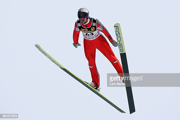 Gregor Schlierenzauer of Austria competes during training for the FIS Ski Jumping World Cup event at the 58th Four Hills ski jumping tournament at...