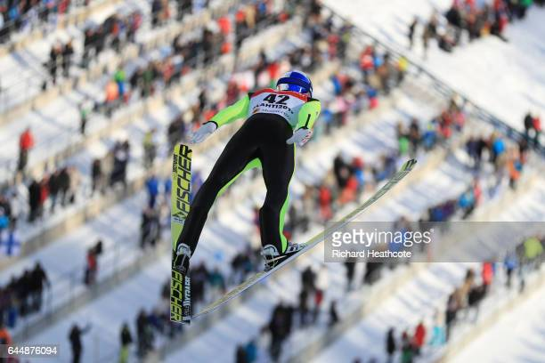 Gregor Schlierenzauer of Austria competes in the Men's Ski Jumping HS100 qualification round during the FIS Nordic World Ski Championships on...
