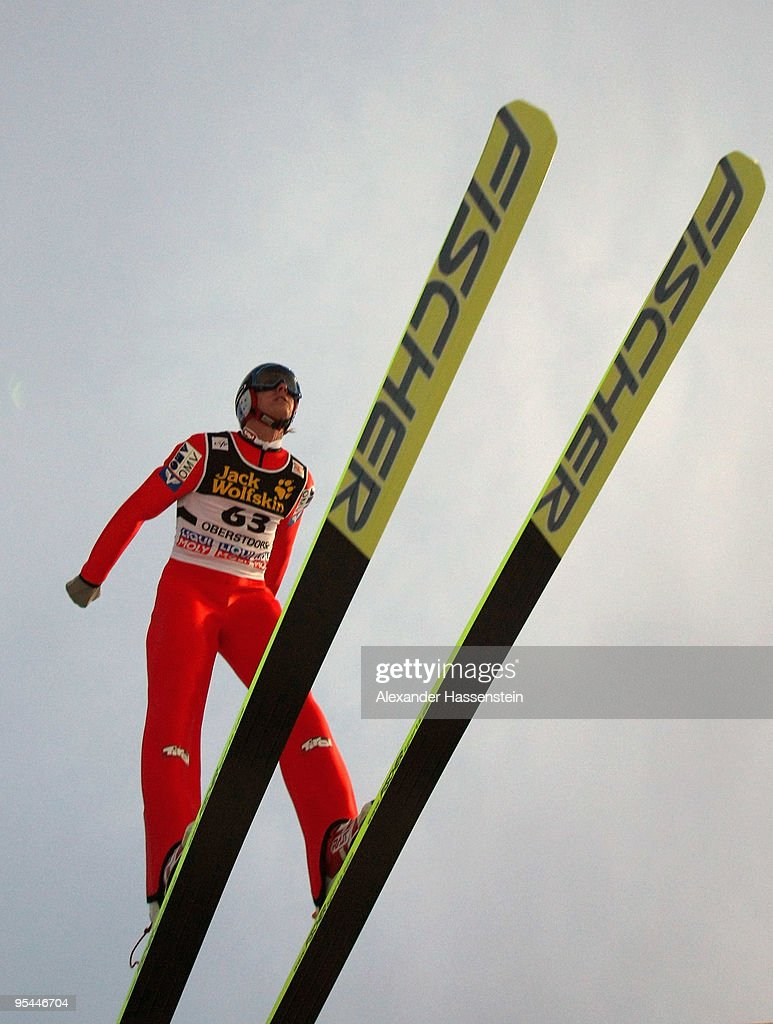 Gregor Schlierenzauer of Austria competes in the training round for the FIS Ski Jumping World Cup event at the 58th Four Hills ski jumping tournament at Erdinger Arena on December 28, 2009 in Oberstdorf, Germany.