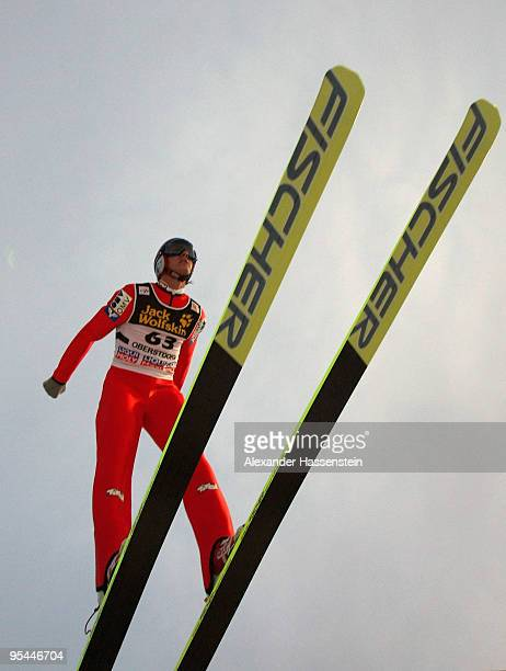 Gregor Schlierenzauer of Austria competes in the training round for the FIS Ski Jumping World Cup event at the 58th Four Hills ski jumping tournament...