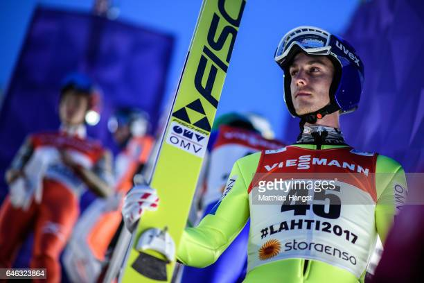 Gregor Schlierenzauer of Austria prepares for his jump during the Men's LH134 Ski Jumping Training during the FIS Nordic World Ski Championships on...
