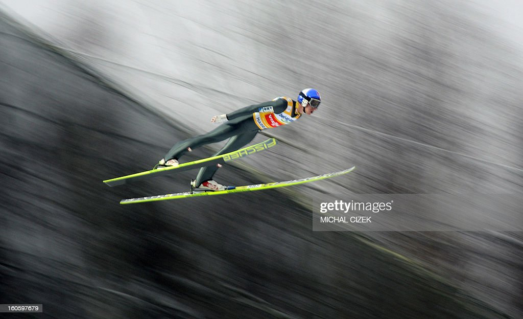 Gregor Schlierenzauer of Austria soars through the air during the second competition of the Ski Flying event of the FIS Ski Jumping World Cup in Harrachov on February 03, 2013.Gregor Schlierenzauer of Austria won this event ahead Jan Matura of the Czech Repuplic (2nd) and Jurij Tepes of Slovenia (3rd).