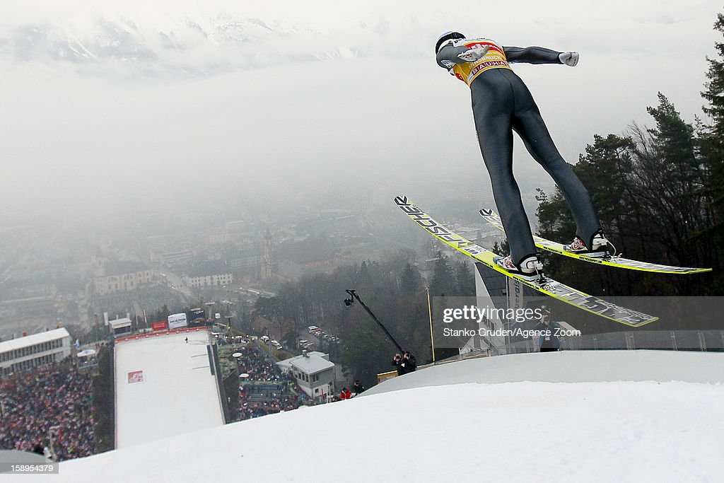 Gregor Schlierenzauer of Austria takes 1st place during the FIS Ski Jumping World Cup Vierschanzentournee (Four Hills Tournament) on January 04, 2013 in Innsbruck, Austria.