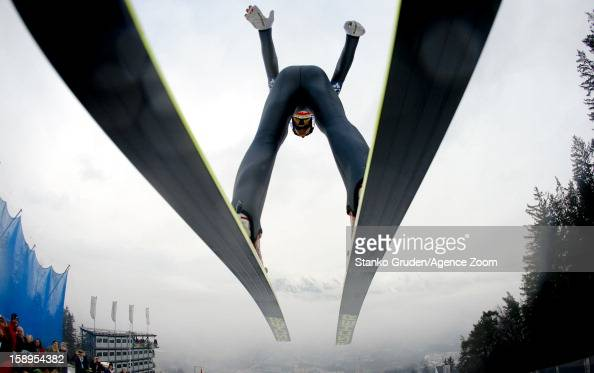 Gregor Schlierenzauer of Austria takes 1st place during the FIS Ski Jumping World Cup Vierschanzentournee on January 04 2013 in Innsbruck Austria