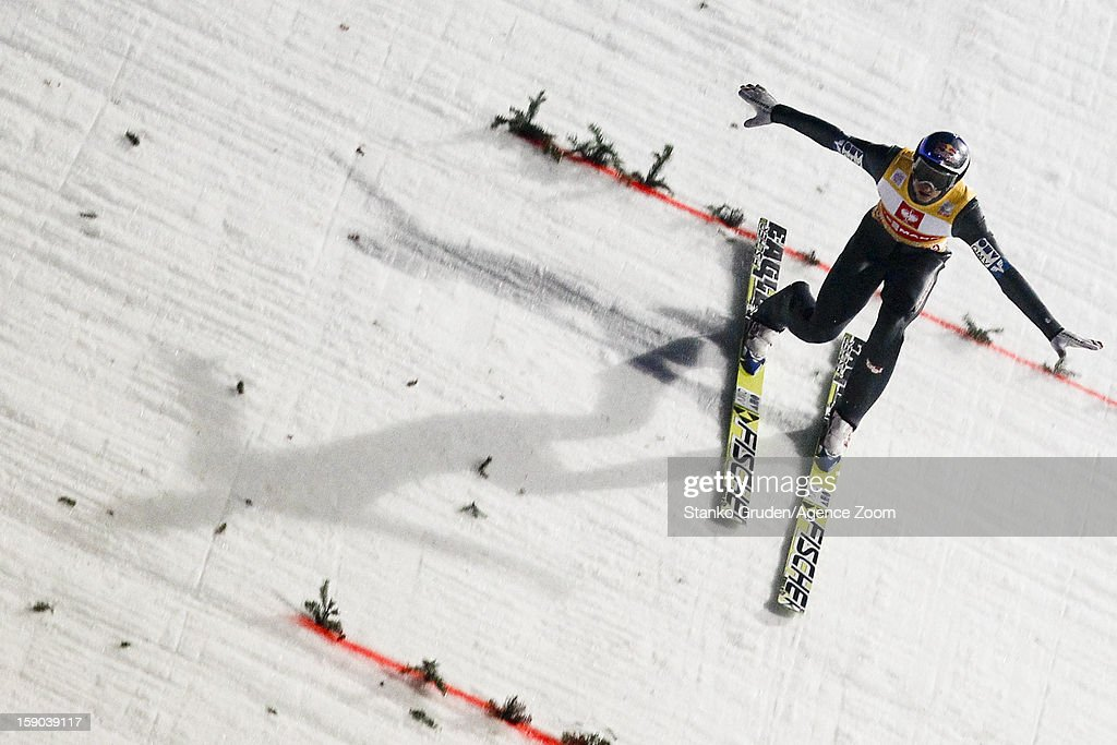 <a gi-track='captionPersonalityLinkClicked' href=/galleries/search?phrase=Gregor+Schlierenzauer&family=editorial&specificpeople=2963942 ng-click='$event.stopPropagation()'>Gregor Schlierenzauer</a> of Austria takes 1st place during the FIS Ski Jumping World Cup Vierschanzentournee (Four Hills Tournament) on January 06, 2013 in Bischofshofen, Austria.