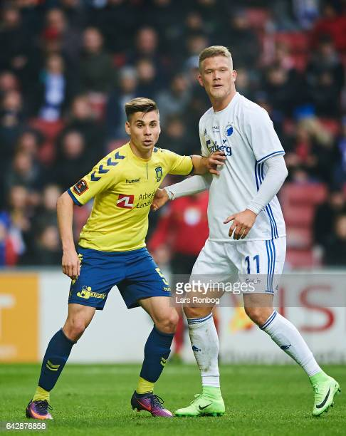 Gregor Sikosek of Brondby IF and Andreas Cornelius of FC Copenhagen in action during the Danish Alka Superliga match between FC Copenhagen and...