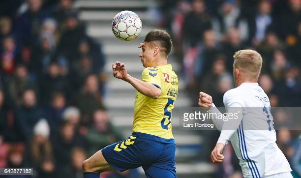 Gregor Sikosek of Brondby IF and Andreas Cornelius of FC Copenhagen compete for the ball during the Danish Alka Superliga match between FC Copenhagen...