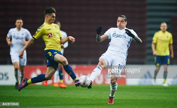 Gregor Sikosek of Brondby IF and Federico Santander of FC Copenhagen compete for the ball during the Danish Alka Superliga match between FC...