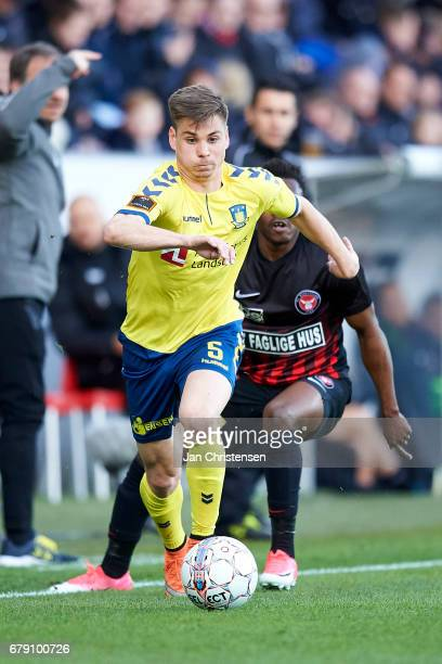 Gregor Sikosek of Brondby IF controls the ball during the Danish Cup DBU Pokalen semifinal match between FC Midtjylland and Brondby IF at MCH Arena...