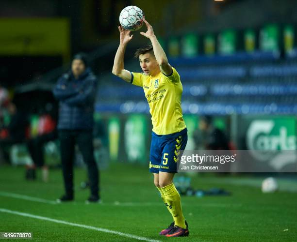 Gregor Sikosek of Brondby IF in action during the Danish Cup DBU Pokalen match between BK Marienlyst and Brondby IF at Brondby Stadion on March 08...