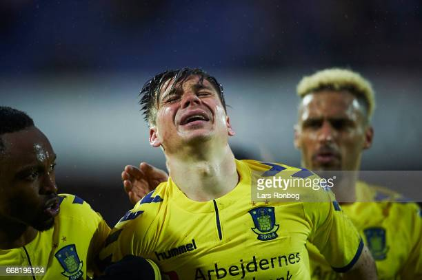 Gregor Sikosek of Brondby IF injured during the Danish Cup DBU Pokalen quarterfinal match between Randers FC and Brondby IF at BioNutria Park on...