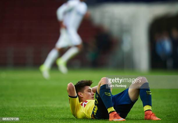 Gregor Sikosek of Brondby IF looks dejected after the Danish Alka Superliga match between FC Copenhagen and Brondby IF at Telia Parken Stadium on May...