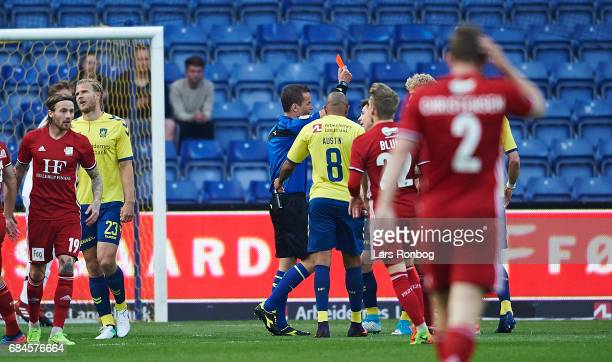 Gregor Sikosek of Brondby IF walks off the pitch after receiving a red card from referee Morten Krogh during the Danish Alka Superliga match between...