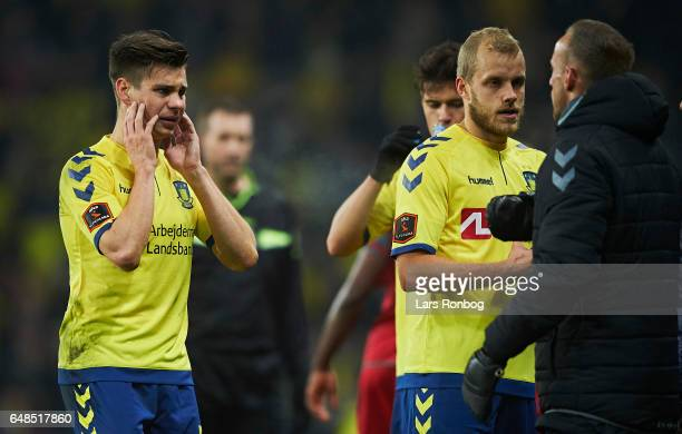 Gregor Sikosek of Brondby IF with pains during the Danish Alka Superliga match between Brondby IF and FC Nordsjalland at Brondby Stadion on March 5...