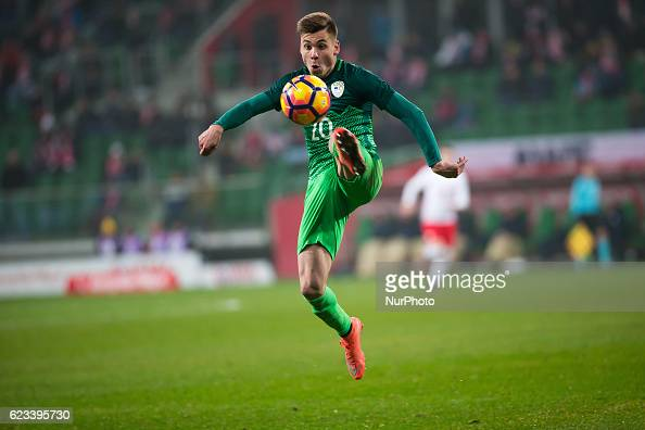 Gregor Sikosek of Slovenia during the international friendly football match Poland vs Slovenia on November 14 2016 in Wroclaw