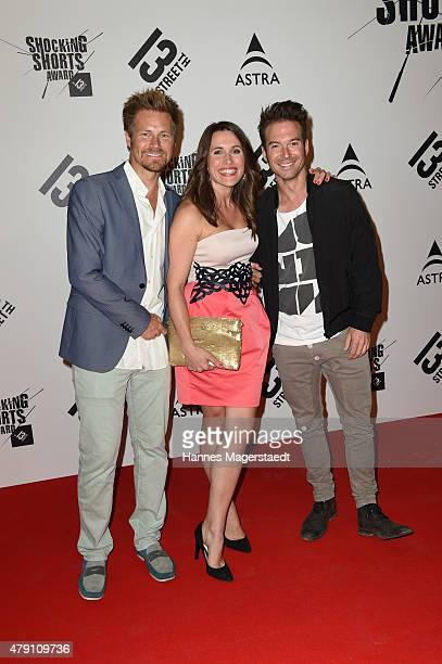 Gregor Teicher Birgit Noessing and Sebastian Hoeffner attend the Shocking Shorts Award 2015 during the Munich Film Festival on June 30 2015 in Munich...