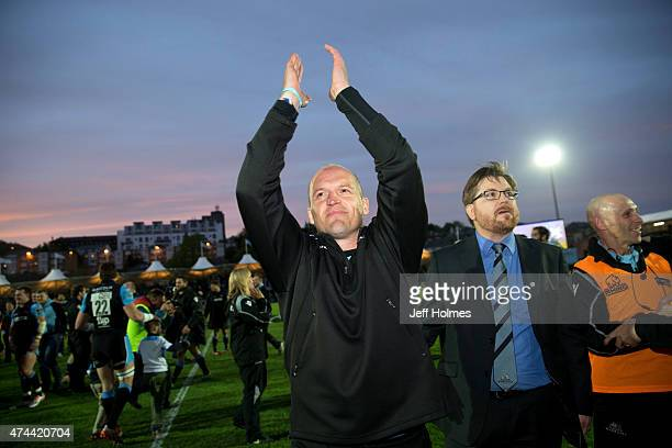 Gregor Townsend coach of Glasgow Warriors salutes fans at the end of the Pro12 Semi Final between Glasgow and Ulster at Scotstoun Stadium on May 22...