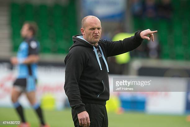Gregor Townsend Glasgow Warriors coach prepares the team before the Pro12 Semi Final between Glasgow and Ulster at Scotstoun Stadium on May 22 2015...